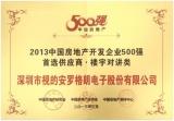 视得安罗格朗获2013中国房地产开发企业500强首选供应商 楼宇对讲第一名