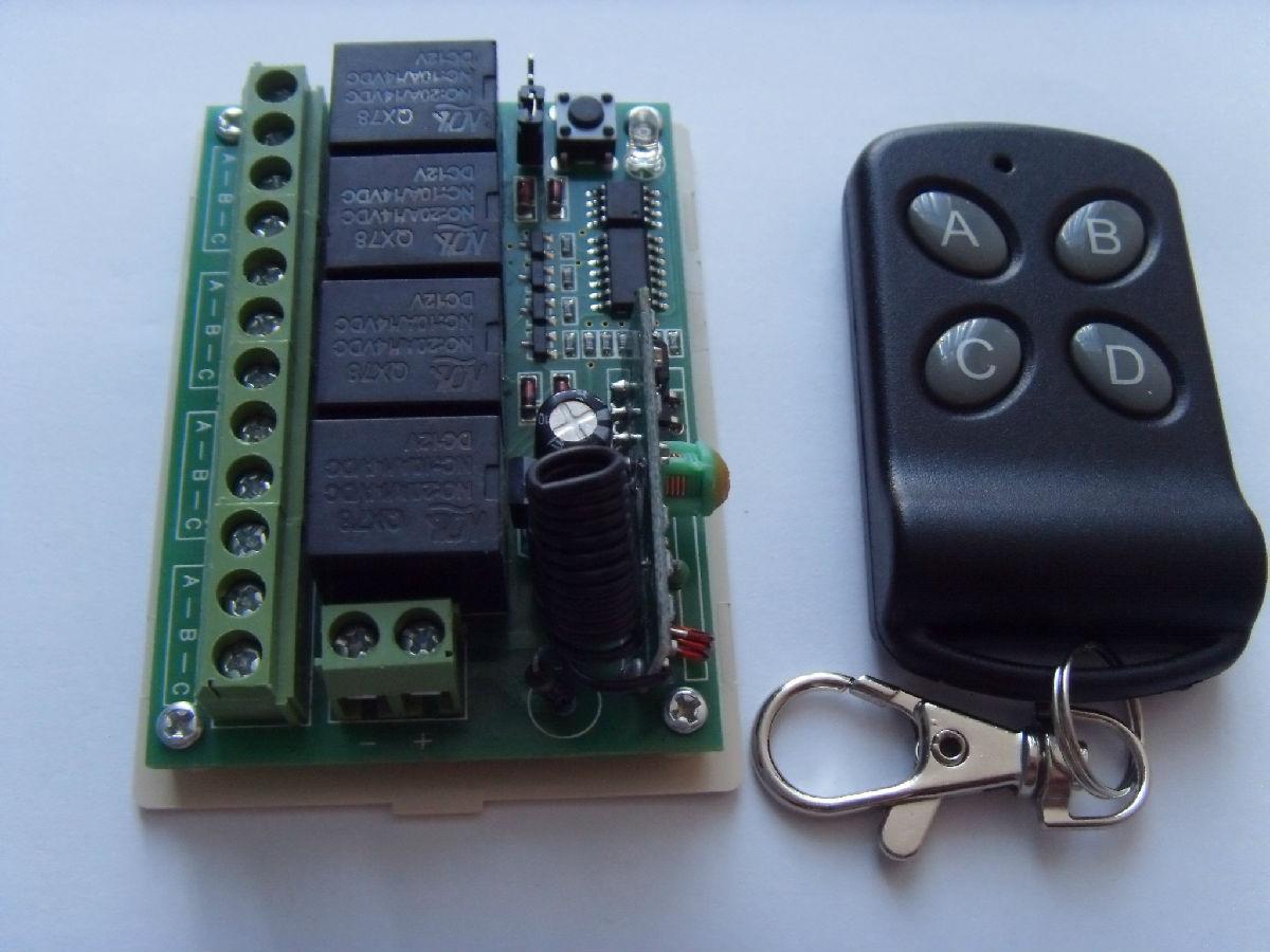 多路继电器控制模组 点动自锁学习型四路无线遥控开关12伏4路