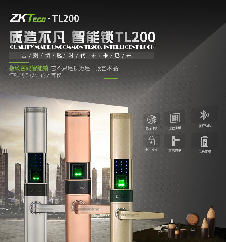 中控智慧zkteco智能电子密码指纹锁家用防盗门锁TL200