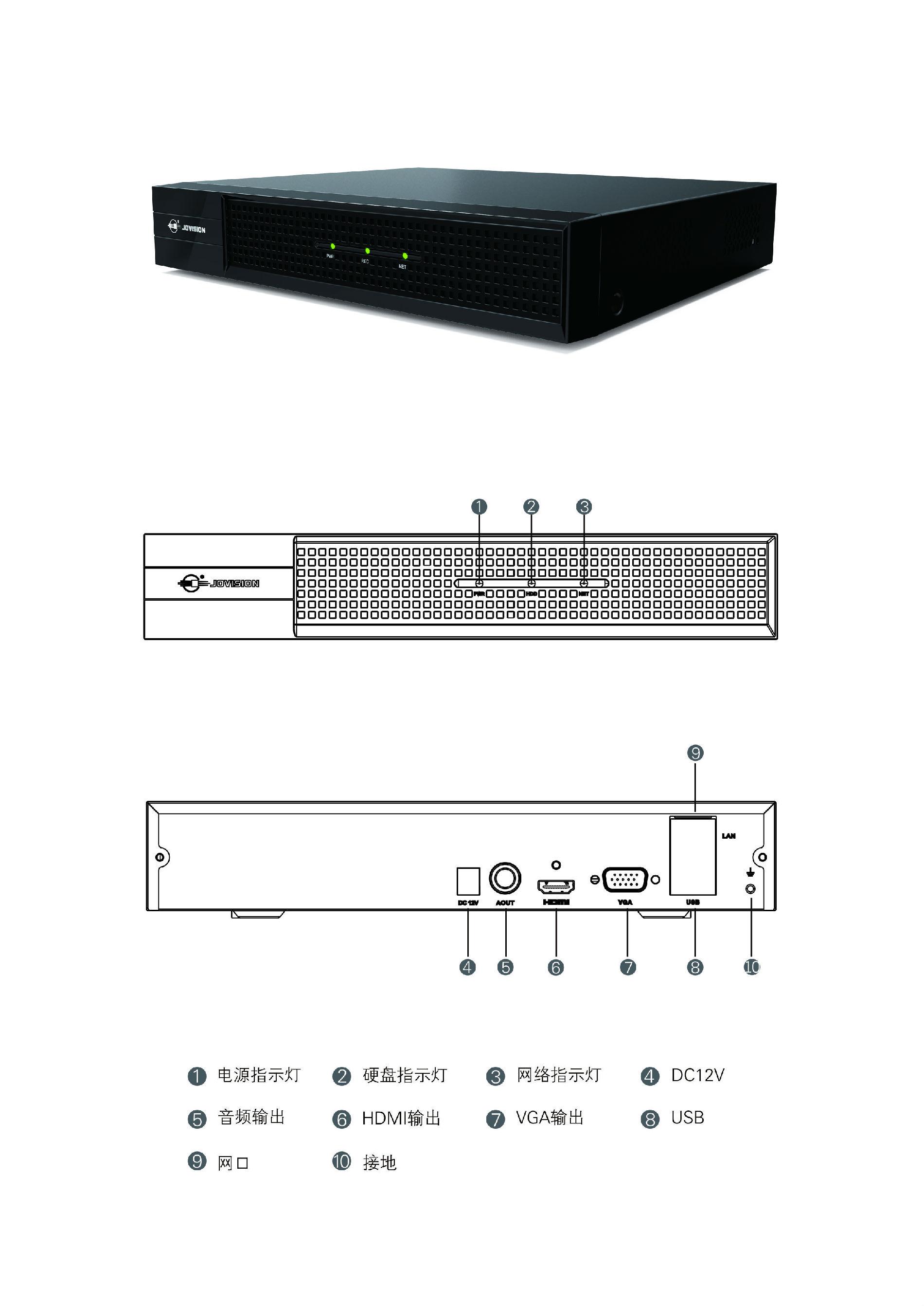 中维世纪4路H.265录像机 可扩容