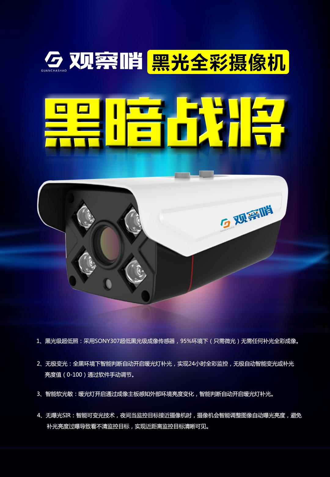 供应 观察哨 黑光全彩摄像机  200万 H.265+编码格式