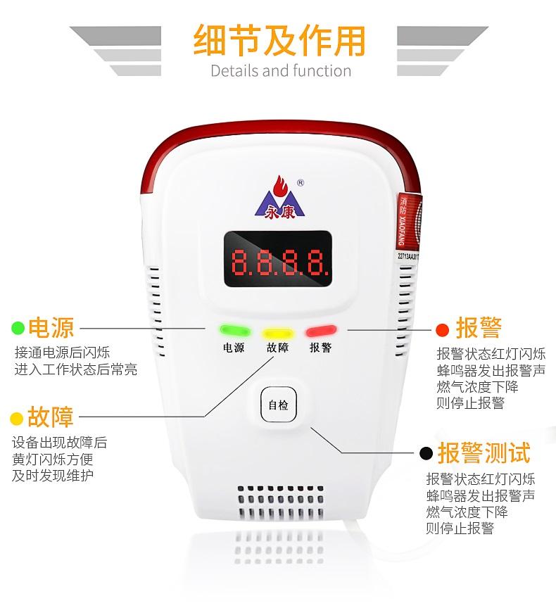 永康燃气报警器家用显示款YK818