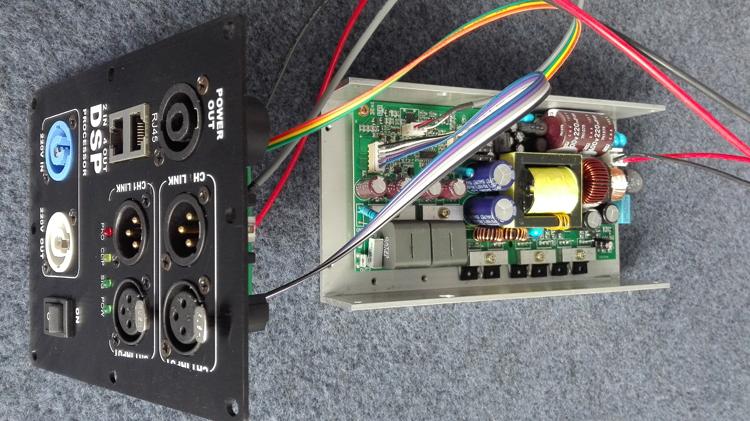 T2线阵DSP有源功放模块8欧2x400W可全频可低音频点任设开关电源