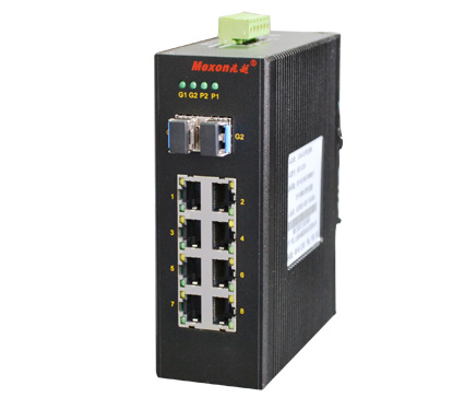 MIE-2210 8GE+2GSFP卡轨式全千兆非网管工业以太网交换机