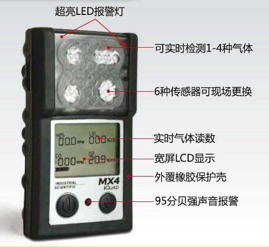 英思科MX4手持式多气体探测器,煤矿用瓦斯泄漏报警仪