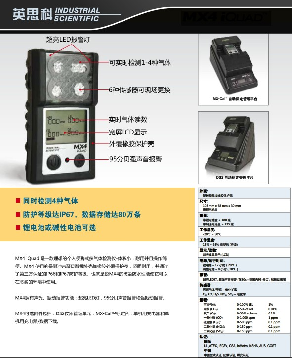 煤安认证四合一气体检测仪英思科MX4原装进口